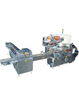 Horizontal Flow Wrap Machine With On Edge Cross Conveyor Machine